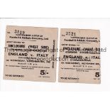 ENGLAND V ITALY 1949 AT TOTTENHAM Two tickets for the International on 30/11/1949 at White hart