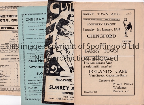 NON-LEAGUE FOOTBALL PROGRAMMES 1948/9 Seven programmes: At Dulwich: Bromley v Hayes London Senior