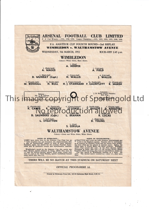 AT ARSENAL / WIMBLEDON V WALTHAMSTOW AVE. 1952 Single card programme for the FA Amateur Cup tie at
