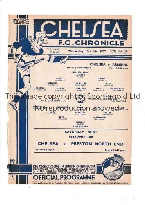 CHELSEA V ARSENAL 1937 Single sheet programme for the London Combination match at Chelsea 10/2/1937,