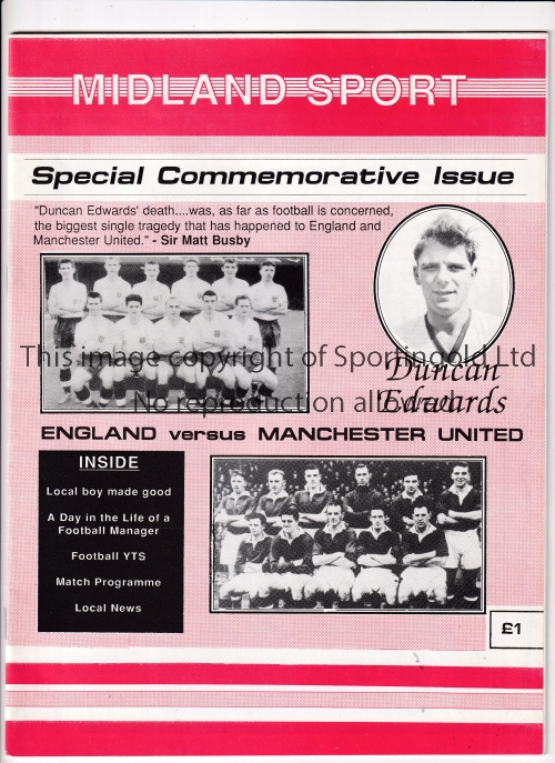DUNCAN EDWARDS Special Commemorative Issue of Midland Sport Magazine 1988 with a tribute to local
