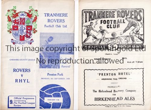 TRANMERE ROVERS Two home Reserve team programmes v Rhyl in the Cheshire League 67/8 and 68/9. Good