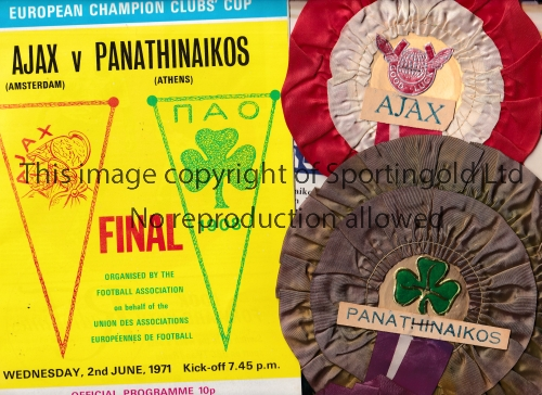 1971 EUROPEAN CUP FINAL Programme, full colour wrap Evening Standard newspaper and original rosettes