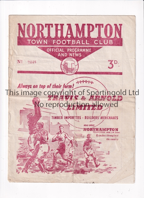 NORTHAMPTON TOWN V WREXHAM 1960 LEAGUE CUP Programme for the first season League Cup tie at