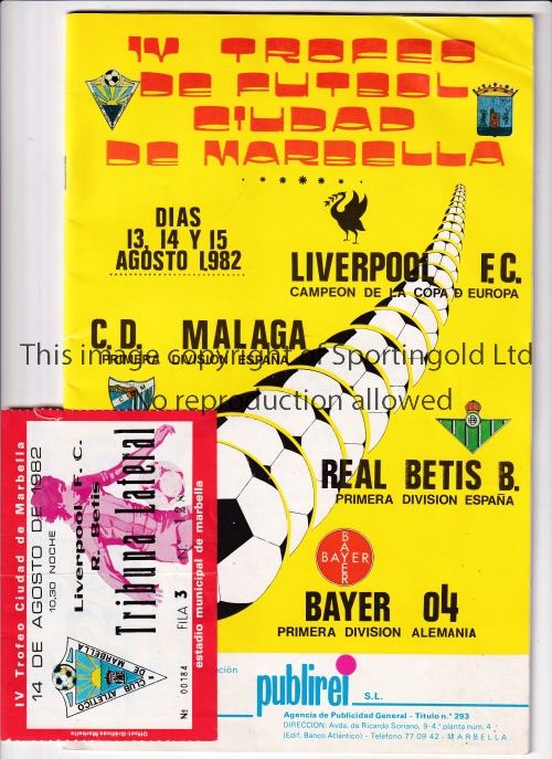 MARBELLA TOURNAMENT LIVERPOOL Tournament programme and ticket for the Liverpool v Real Betis match