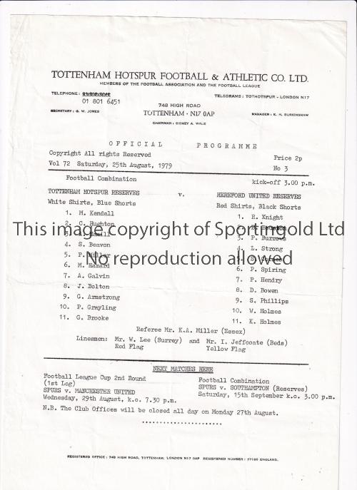 TOTTENHAM HOTSPUR Twenty four home Reserve and Youth team programmes for season 1979/80. 21
