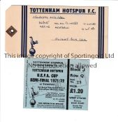 TOTTENHAM HOTSPUR Ticket for the UEFA Cup Semi-Final home tie v. AC Milan 1971/2 and an official