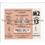1966 WORLD CUP / UNUSED TICKET France v Uruguay 15/7/1966 standing ticket at White City. Good