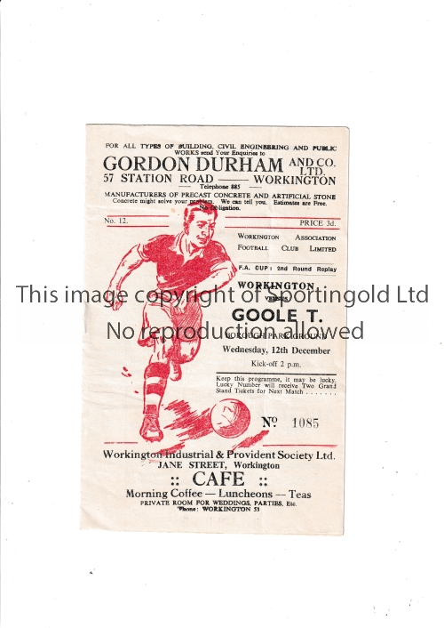 WORKINGTON V GOOLE TOWN 1956 FA CUP Programme for the tie at Workington 12/12/1956, very slight
