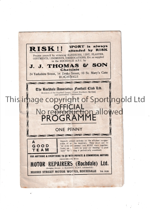 ROCHDALE Home programme v Stockport County 3/11/1934. Folds. No writing. Fair to generally good