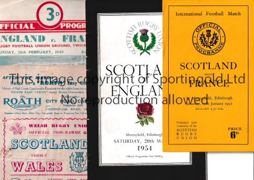 RUGBY UNION PROGRAMMES Nine programmes including Scotland v France 1950 and 1952, Wales 1953 and