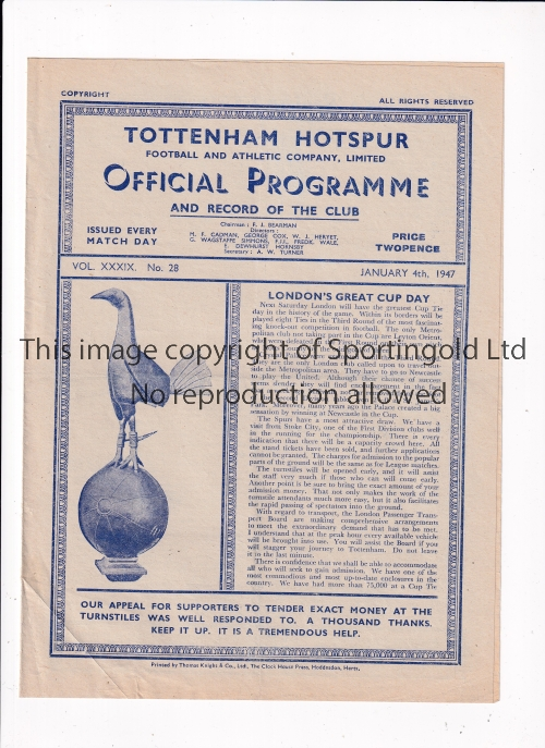 TOTTENHAM HOTSPUR Home programme v West Bromwich Albion 4/1/1947, very slight horizontal crease.