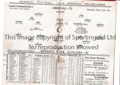 ARSENAL Home programme for the London Combination match v Queen's Park Rangers 11/3/1933, scores