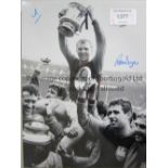 WEST HAM UNITED Four, 3 B/W and 1 colour autographed 16 x 12 photos of former players Ron Boyce,