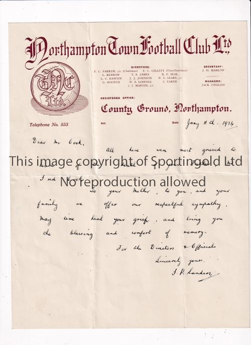 NORTHAMPTON TOWN Three official handwritten letters on letterheads from 1920 and 1934 plus an