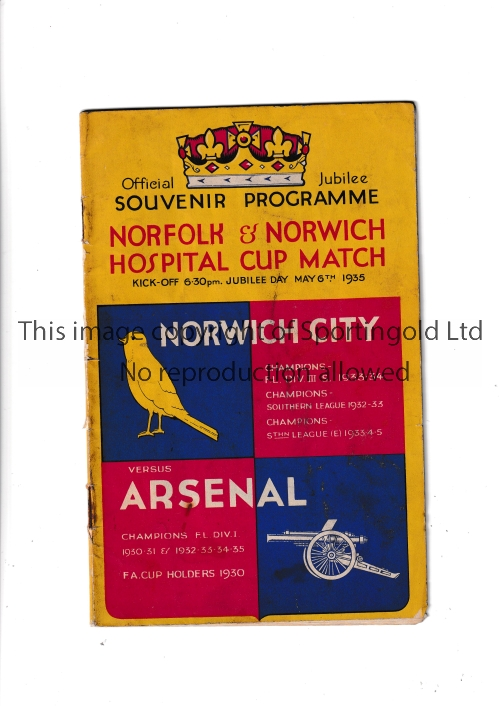NORWICH Home programme v Arsenal Norfolk & Norwich Hospital Cup 6/5/1935. Rusty staples. No writing.