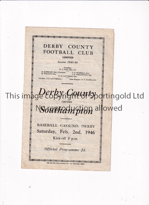 DERBY COUNTY V SOUTHAMPTON 1946 Programme for the FL South match at Derby 2/2/1946, slightly
