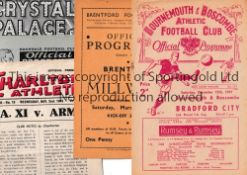 1940'S FOOTBALL PROGRAMMES Five programmes: Bournemouth v Bradford City 13/12/1947 FA Cup, team
