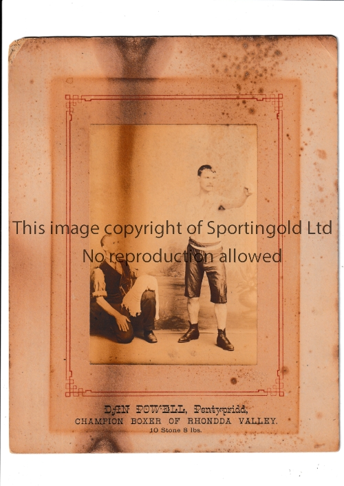 """BOXING / DAN POWELL A mounted 6"""" X 4"""" sepia photo of Powell in boxing pose circa 1889. Powell was"""