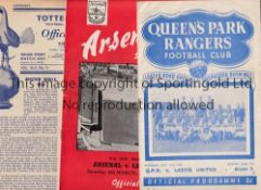 LEEDS UNITED Three away programmes in 1949/50 season v Tottenham and QPR writing on the cover and