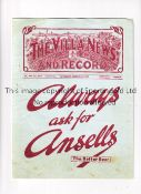 ASTON VILLA V LEEDS UNITED 1936 Programme for the League match at Villa 14/3/1936, with