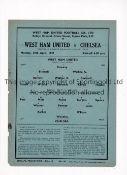 WEST HAM UNITED Single sheet programme for the home FL Regional match v Chelsea 29/4/1940, very