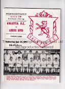LEEDS UNITED Programme for the away UEFA Cup tie v Valetta 19/9/1979. Good