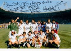 WEST HAM Autographed 12 x 8 colour photo showing players celebrating with the FA Cup after a