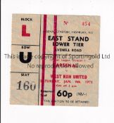 ARSENAL Ticket for the home League match v West Ham United 9/1/1971 in their Double Season, slightly