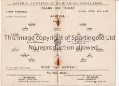 ARSENAL Programme for the home London Combination match v West Ham United 20/10/1928, rusty staples.