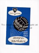 1964 LEAGUE CUP SEMI-FINAL / LEICESTER CITY V WEST HAM UNITED Programme for the 1st Leg at Leicester