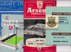 TOTTENHAM HOTSPUR 1960/1 Forty two programmes. 28 home programmes and 14 aways plus the handbook for
