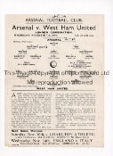 ARSENAL Single sheet programme for the home London Combination match v West Ham United 7/11/1934,