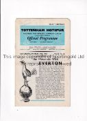 DAVE MACKAY AUTOGRAPH Programme for Tottenham Hotspur v Everton 24/3/1962, creased and signed on the