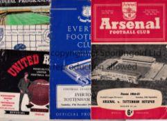 TOTTENHAM HOTSPUR 1960/1 Five away programmes v Arsenal, Everton, Man Utd. token intact, Sheff.