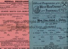 WEST HAM / CHELSEA Two programmes, both single sheets from the 1944/45 season, West Ham United v