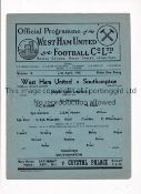 WEST HAM UNITED Single sheet programme for the home FLS match v Southampton 21/4/1945, slight