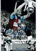 WEST HAM Autographed 12 x 8 colorized photo showing a montage of images relating to the Hammers 2-