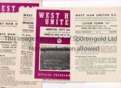 WEST HAM UNITED Nine home programmes in 1959/60 season Reserves v Arsenal, Luton, Swansea,