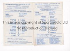 CHELSEA Two home single card programmes v West ham United 13/3/1967 SECLC Semi-Final and v Leicester