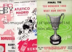 ECWC FINAL PROGRAMMES 1963, 1965 & 1966 Programmes for Atletico Madrid v Tottenham (Hennessy