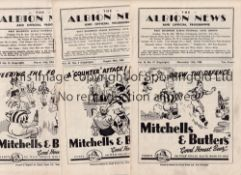 WEST BROMWICH ALBION Six home programmes 1949/50 v. Sunderland, Everton and Newcastle Utd. and