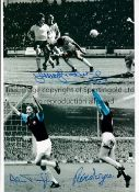 WEST HAM Autographed 12 x 8 colorized photo showing a montage of images relating to the Hammers