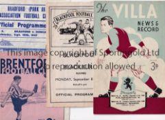 1940'S PROGRAMMES Ten programmes inc. Aston Villa v Wolves 27/12/48, Blackpool v Blackburn 8/9/47,