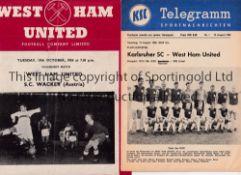 WEST HAM UNITED Two programmes for Friendlies: home v S.C. Wacker 19/10/1954 horizontal fold and