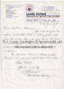 LEEDS UNITED Official hand written letter 10/1/1973 to the parents of a player who joined Leeds in