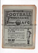 ARSENAL Programme for the away League match v Everton 16/11/1935. The pages are held together with a