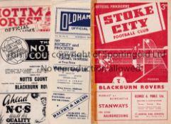 BLACKBURN ROVERS Fourteen away programmes from 1953/4 season including West Ham, Oldham, Stoke, N