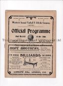 WOOLWICH ARSENAL Home programme v Everton 18/4/1908 played at Plumstead Road. Professionally cleaned
