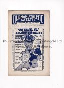 OLDHAM ATHLETIC V EVERTON 1911 Programme for the Lancashire League Reserve team match at Oldham 14/